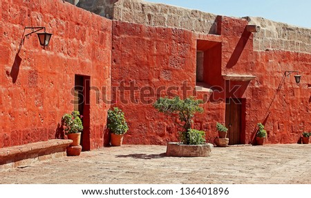 Inside the walls of Santa Catalina Monastery, in Arequipa, Peru - stock photo