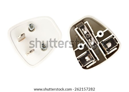 inside universal power adapter, non standard - stock photo