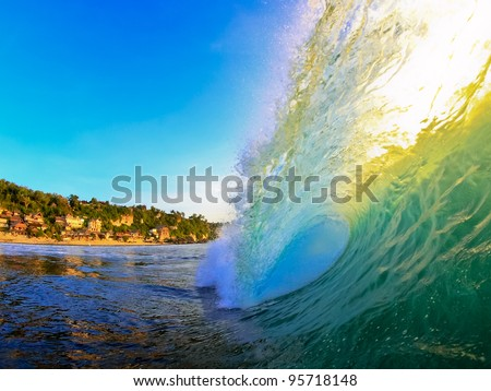 Inside view of bingin wave at sunset - stock photo
