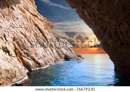Inside view of cave in rising. Nature composition - stock photo