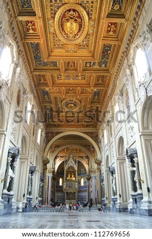 Inside view of the Catholic Church in Rome - stock photo