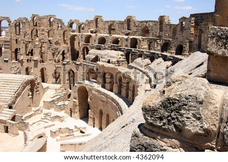 Inside view of the Roman coliseum of Thysdrus at El Jem, Tunisia - stock photo