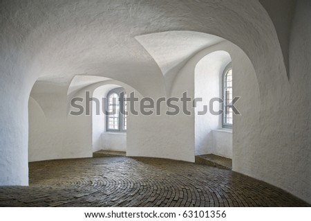 Inside view of the Round Tower in Copenhagen, Denmark - stock photo