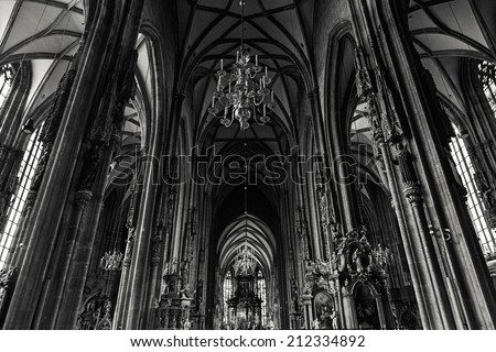 Inside view of Vienna's Stephansdom (St. Stephens Cathedral), the mother church of the Roman Catholic Archdiocese of the city. Toned. - stock photo