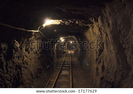 inside view the old mine(mine of gold - zloty stok - poland) - stock photo
