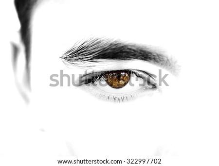 insightful look brown eyes boy - stock photo