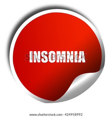 insomnia, 3D rendering, red sticker with white text - stock photo