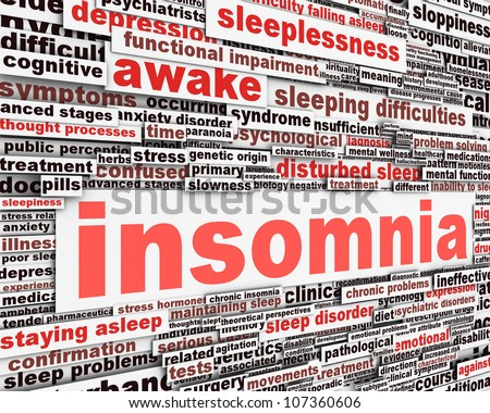 Insomnia message concept. Sleep disorder icon conceptual design - stock photo