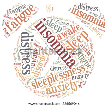 Insomnia or sleeplessness concept. Word cloud illustration. - stock photo
