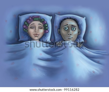 Insomnia raster illustration. A husband cannot fall asleep while his wife is sleeping soundly. - stock photo
