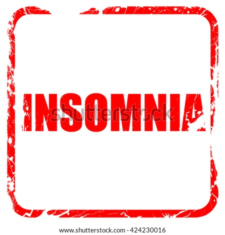 insomnia, red rubber stamp with grunge edges - stock photo