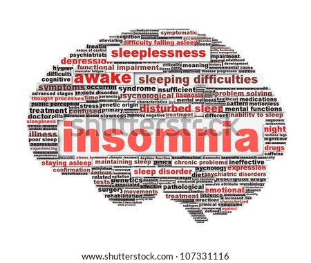 Insomnia symbol concept isolated on white background. Sleep disorder icon conceptual design - stock photo