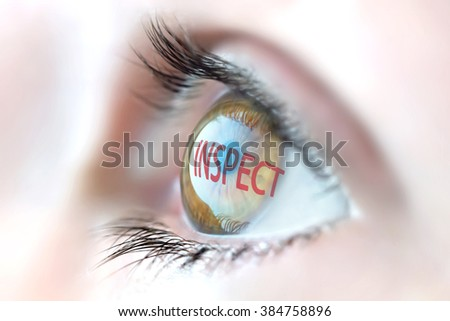Inspect reflection in eye. - stock photo