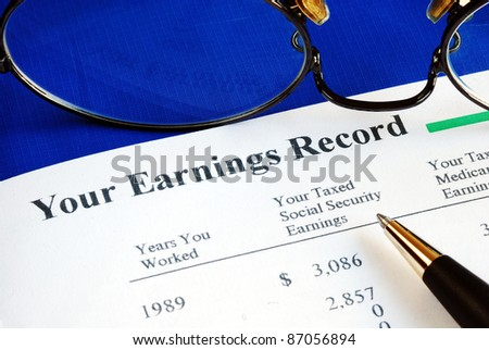 Inspect the Social Security earning report concepts of retirement pension - stock photo