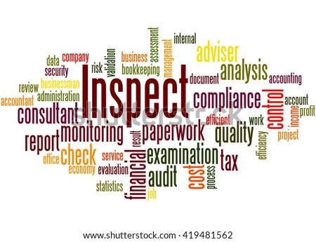 Inspect, word cloud concept on white background.