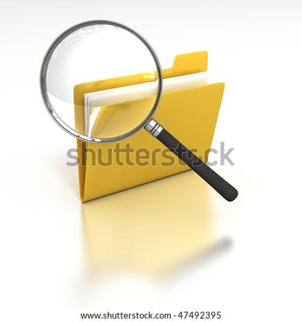 Inspecting Folder - Magnifying Glass inspects a folder - stock photo