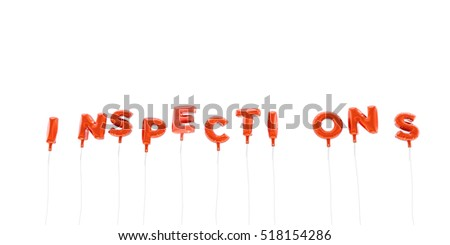INSPECTIONS - word made from red foil balloons - 3D rendered.  Can be used for an online banner ad or a print postcard.