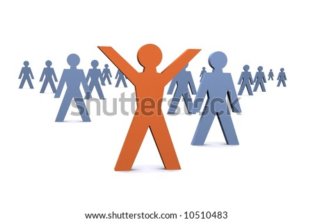 Inspiration Illustration showing success / someone standing out from the crowd.