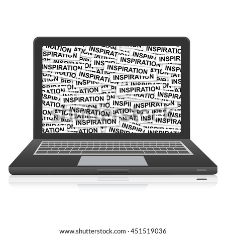 Inspiration Label on Computer Laptop Monitor Screen Isolated on White Background