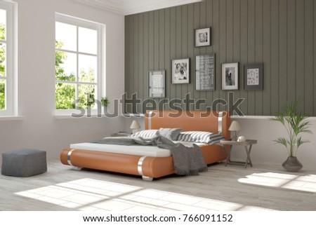 Inspiration Of White Minimalist Bedroom With Summer Landscape In Window Scandinavian Interior Design 3D