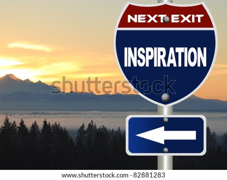 Inspiration road sign - stock photo
