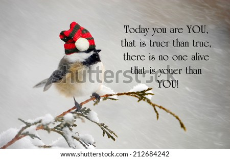 Inspirational quote about individuality by Dr. Suess, with a cute chickadee wearing his Christmas hat during a snowstorm. - stock photo