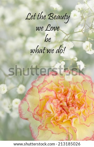 Inspirational quote about life and time by the 13th century Persian Poet Rumi with beautiful flowers in the background  - stock photo