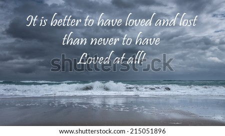 Inspirational quote about life, love, and soul by Alfred Lord Tennyson  on a beautiful stormy seascape background - stock photo
