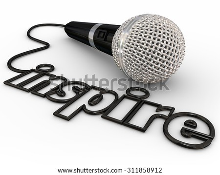 Inspire word in microphone cord to illustrate a keynote, motivational or self-help speaker sharing inspiration with a crowd or audience - stock photo