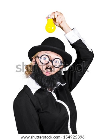 Inspired And Innovative Woman Dressed As A Male Holding Yellow Light Bulb - stock photo