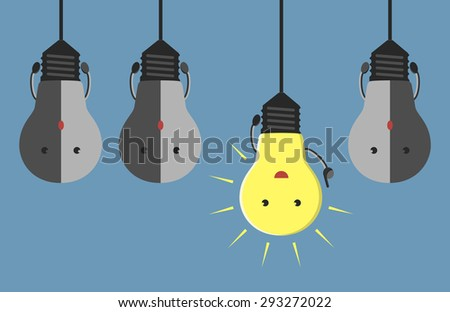 Inspired glowing light bulb character in aha moment hanging among three gray dull ones - stock photo