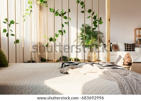 Inspiring Rope And Ivy Decorative Room Divider Next To Elegant Bed In  Original Apartment