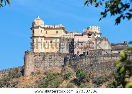 Inspiring view of the imposing facade of Kumbhalgarh Fortress, a 15th century redoubt and a world heritage site near Udaipur, India. - stock photo