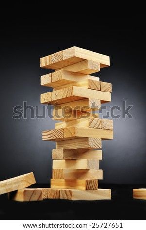 Instability building blocks - stock photo