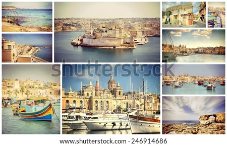 Instagram filter look from a collection photos of the Island Malta , Europe - stock photo