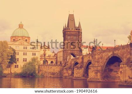 Instagram nashville Tone  old town of Prague, Czech Republic - stock photo