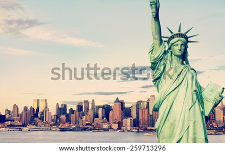 instagram new york city skyline cityscape with old large sailing ship in hudson river. beautiful epic statue of liberty midtown manhattan cityscape skyline. instagram effect nyc american landmark