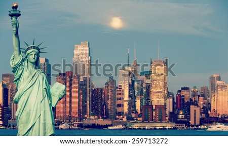 instagram new york city skyline over hudson river - stock photo