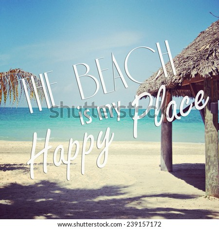 instagram of  sandy tropical beach with quote - stock photo