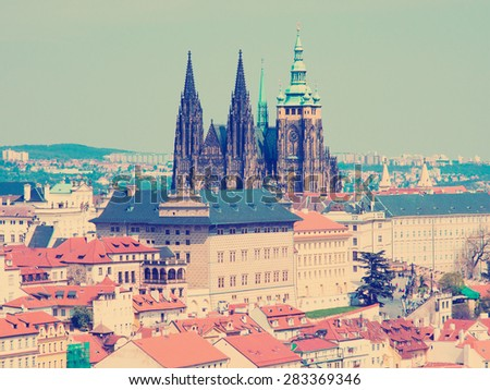 instagram Old Prague panorama with sityscape of Hradcany, St. Vitus Cathedral and red roofs czech republic