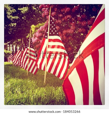 Instagram style row of US flags for Memorial Day - stock photo