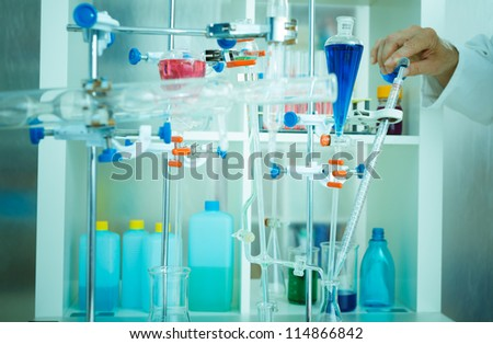 Installation for the experiment in chemistry lab - stock photo