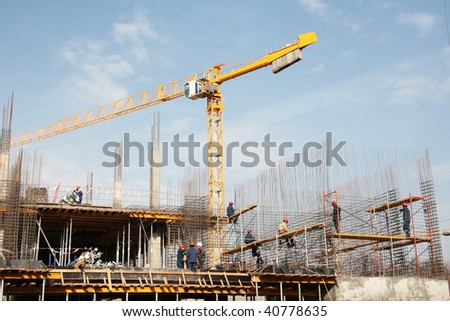 Installation of armature on construction of a building