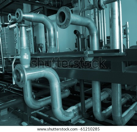 Installation of industrial pipelines in blue tones