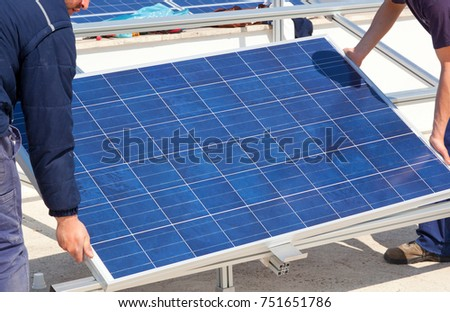Installation of solar panel.