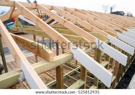 Installation Wooden Beams Construction Roof Truss Stock