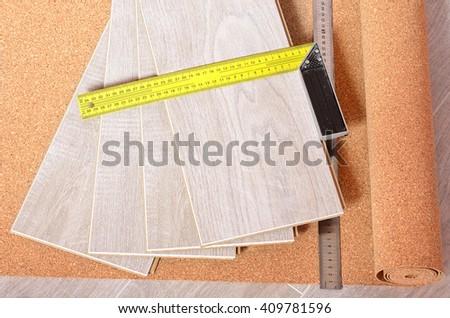 Installing New Laminate Wood Flooring Abstract. - stock photo