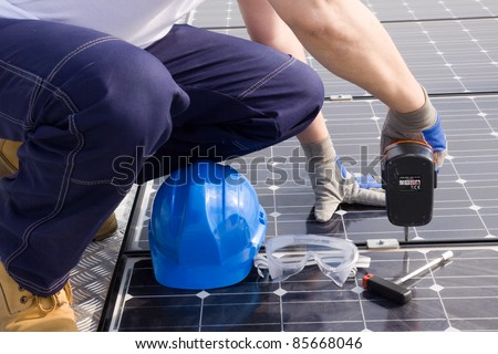 installing the photovoltaic panels - stock photo