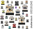 instant camera pattern ,retro style - stock photo