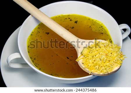 instant chicken noodle soup - stock photo